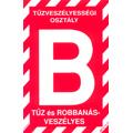 """Tűzveszélyességi osztály jelző tábla """"B"""" - Kifutó!"""