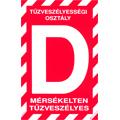 """Tűzveszélyességi osztály jelző tábla """"D"""""""