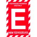 """Tűzveszélyességi osztály jelző tábla """"E"""""""
